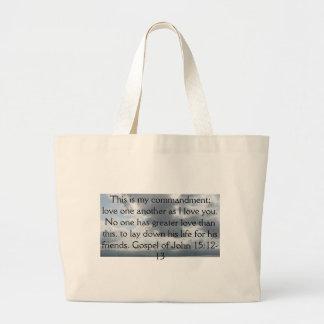 Gospel of John 15:12-13 Large Tote Bag