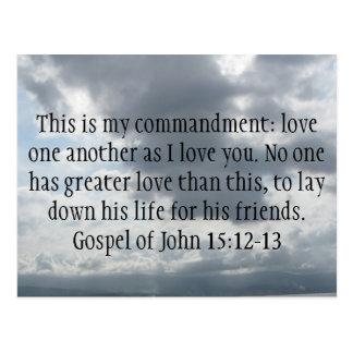 Gospel of John 15:12-13 Postcard