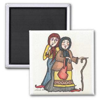 Gossip Crones Ukrainian Folk Art 2 Inch Square Magnet
