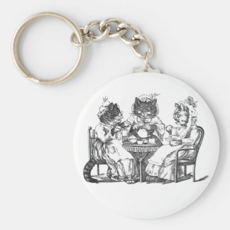 Gossiping Cats Have Tea Party Basic Round Button Keychain