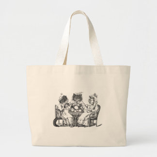 Gossiping Cats Have Tea Party Large Tote Bag