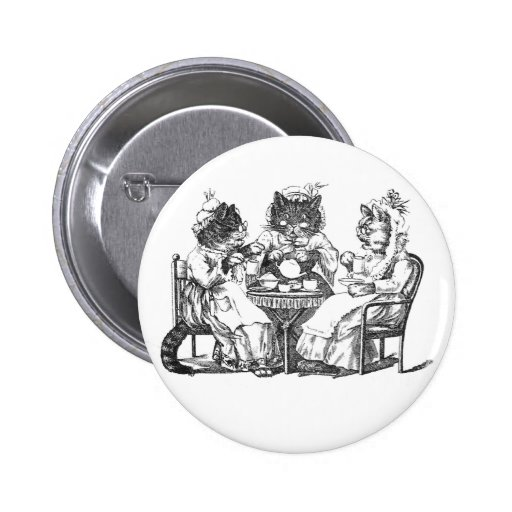 Gossiping Cats Have Tea Party Pins