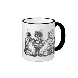 Gossiping Cats Have Tea Party Ringer Mug