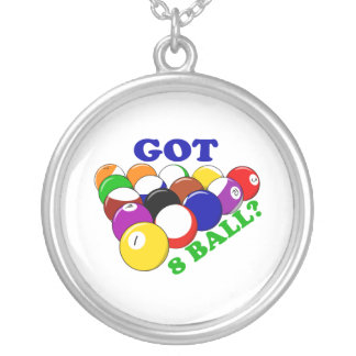 Got 8 Ball Pool Player Silver Plated Necklace