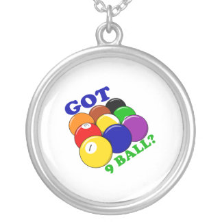 Got 9 Ball Pool Player Silver Plated Necklace