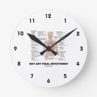 Got Any Viral Infections? Medical Anatomical Humor Round Clock