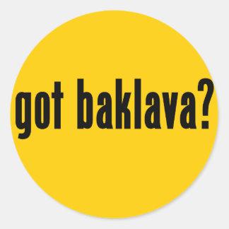 got baklava? classic round sticker