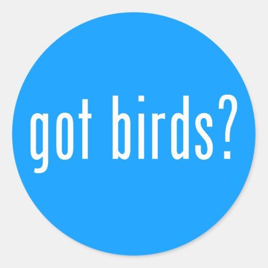 got birds? classic round sticker