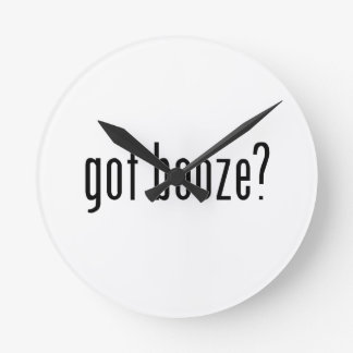 got booze? round wall clocks