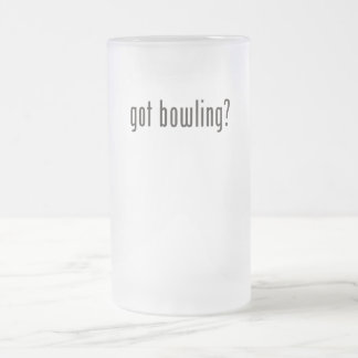 got bowling? frosted glass beer mug