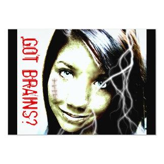 Got Brains? Cute Zombie Girl Teenager Card