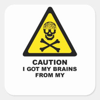 got brains square sticker