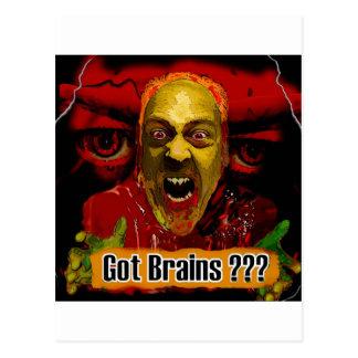 """Got Brains ???"" -- Zombie Art Postcard"