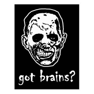 Got Brains Zombie Halloween Post Card
