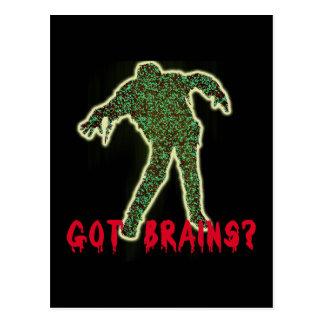 Got Brains? Zombie Halloween Tshirts, Hoodies Postcard