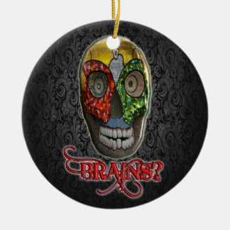 GOT BRAINS ZOMBIE Double-Sided CERAMIC ROUND CHRISTMAS ORNAMENT