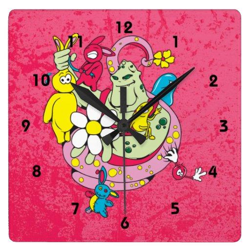 Got Bunnies Square Wall Clock