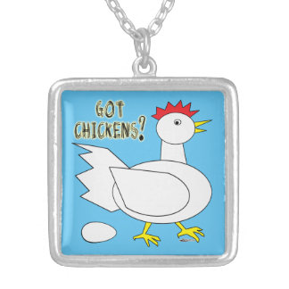 Got Chickens? Silver Plated Necklace