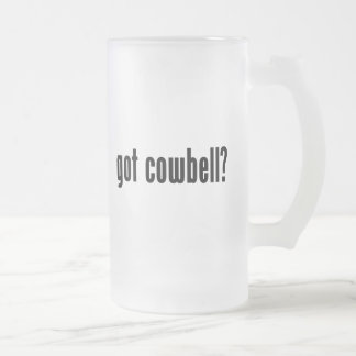 got cowbell? frosted glass beer mug
