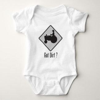 Got Dirt Tractor Grey Baby Bodysuit