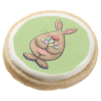 got eggs ? cute & funny easter bunny cartoon round shortbread cookie