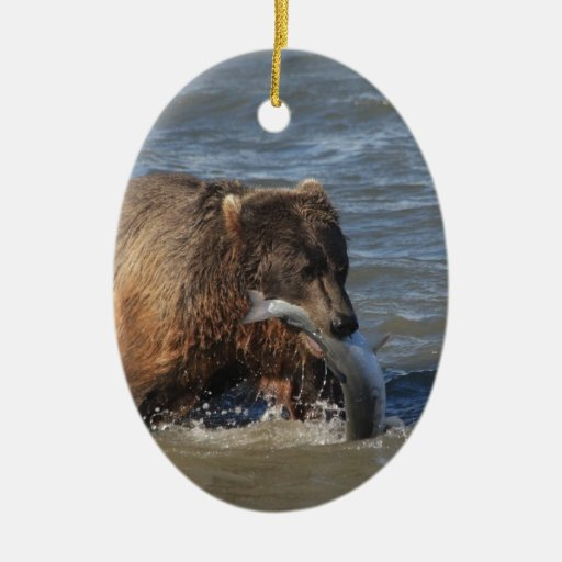 Got Fish? Alaska Brown Bear gifts Double-Sided Oval Ceramic Christmas Ornament
