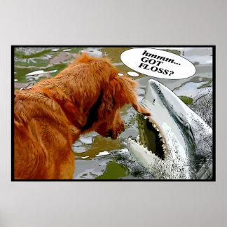 GOT FLOSS? DOG IN SHARK'S MOUTH - FRAMED PRINT