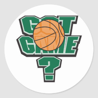 got game basketball design classic round sticker