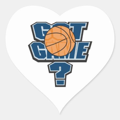 got game basketball design heart stickers