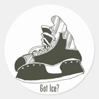 Got Ice? Hockey Skate Sticker Small Round