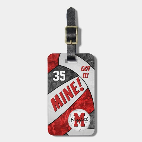 Got it! girls' black red volleyball team colors luggage tag