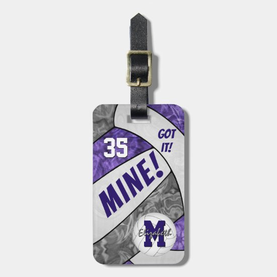 Got it! girls purple gray volleyball team colors luggage tag