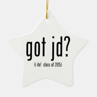 got jd? (i do! class of 2015) Double-Sided star ceramic christmas ornament