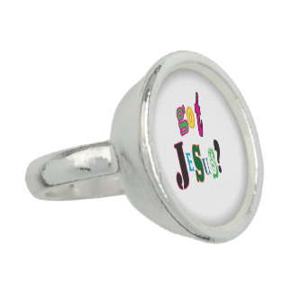 Got Jesus Black Oval Abstract Rings