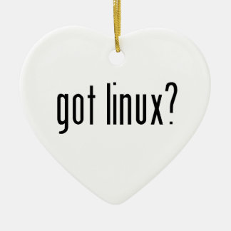 got linux? Double-Sided heart ceramic christmas ornament