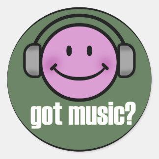 GOT MUSIC SMILE CLASSIC ROUND STICKER