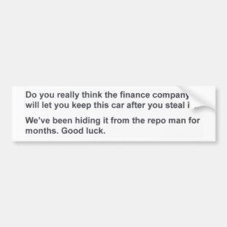Got No Money Guide Anti-Theft Bumper Sticker Car Bumper Sticker