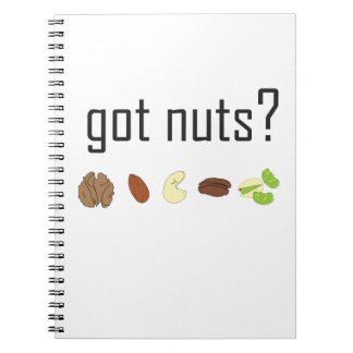 got nuts? (row of nuts) notebook
