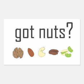got nuts? (row of nuts) rectangular sticker