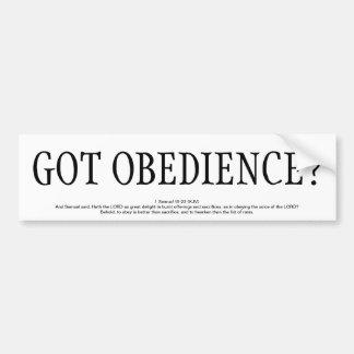 GOT OBEDIENCE? BUMPER STICKER