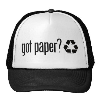 got paper Recycling Sign Hats