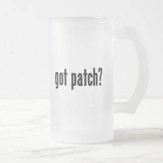 got patch? frosted glass beer mug