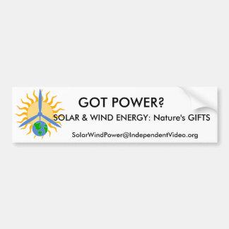 GOT POWER?, SOLAR & WIND ENERGY... CAR BUMPER STICKER