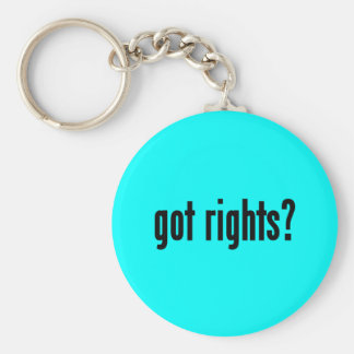 got rights? basic round button keychain