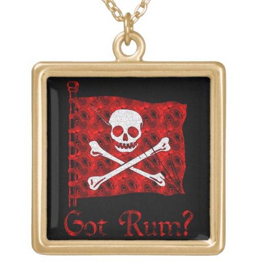Got Rum? Square Pendant Necklace
