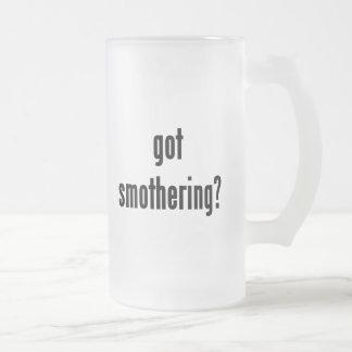 got smothering? frosted glass beer mug