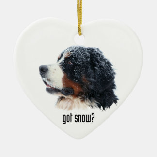 got snow? Bernese Mountain Dog Double-Sided Heart Ceramic Christmas Ornament