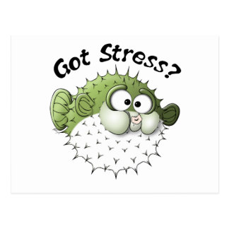 Got Stress? Puffer Fish Postcard