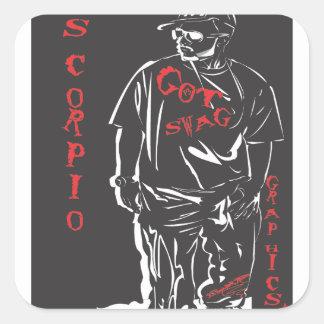 Got swag scorpio red square sticker