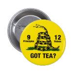 Got Tea? Don't Tread On Me 9-12 Pinback Button